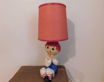 Vintage Raggedy Ann Chalkware Lamp