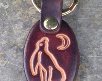 Key Ring/Fob. Key Chain, Moon Gazing Hare. Available in Cordovan Brown or Red.