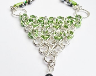 Necklace Green Silver Rings Statement Gift