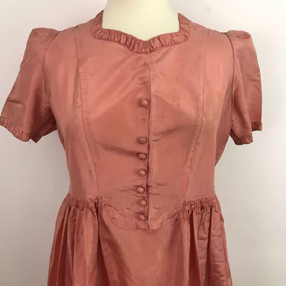 vintage dress 1930s acetate dress pink original vintage bridesmaid long maxi length UK 14 16 plus size 30s altered bridal wedding