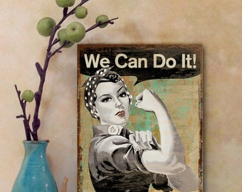 """Printable Digital download """"WE CAN DO It""""  artwork poster for Home Wall Decoration, craft projects, iron-on-transfer, ArtCult graphics"""