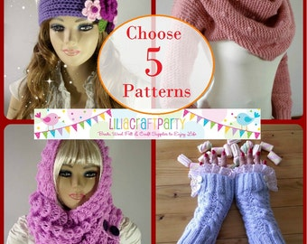 PATTERN DISCOUNT - CHOOSE 5 - Knitting & Crochet Patterns Your choice of 5 patterns Instant Download Tutorials with clear instructions
