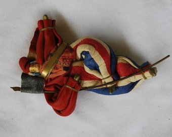 Vintage French Hand Made Leather Circus Act Man Brooch 1980's