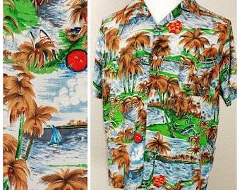 Incredible original 1950s South Pacific rayon Hawaiian shirt