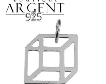 Cube shaped pendant 14.9 X 11.8 mm 925 Silver