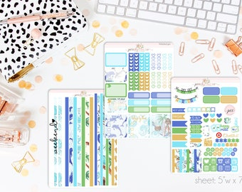 Beach Day HORIZONTAL Weekly Kit // 130+ Matte Planner Stickers // Perfect for your Erin Condren Life Planner // WKH0740