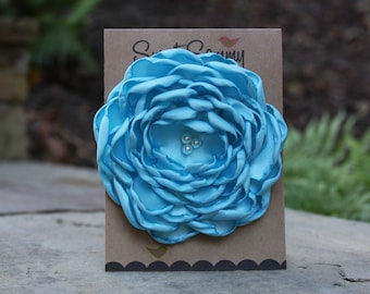 34 Colors Large Satin Flower Pin, Ocean Blue Satin Flower Pin