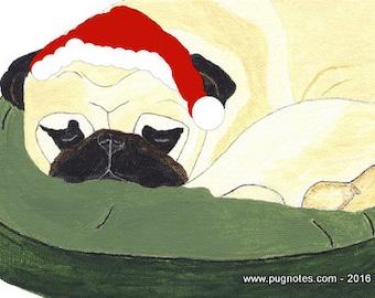 Holiday Pug Cards - Sleeping Fawn Pug waiting for Santa