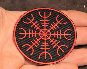 Aegishjalmur patch, Viking iron on, Helm of Awe