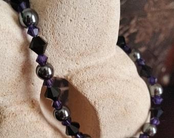 Purple and Jet Black Swarovski Bracelet
