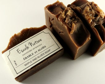 Maple and aloes soap, Atisan soap with olive oil, maple sirup and shea butter, Handmade olive soap