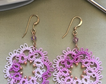 Elegant tatting lace earrings