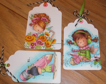 Gift tags, set of three, Girls!