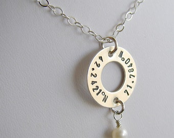 Latitude Longitude Washer Necklace - Personalized Coordinates Jewelry - Hand Stamped Genuine Sterling Silver - Optional Birthstone or Pearl