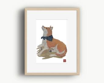 Shiba Inu Print, Shiba Inu Gift, Shiba Inu Wall Decor, 柴犬