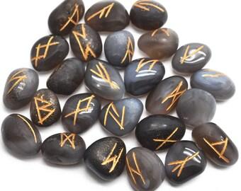 Angori Agate Rune Stones, Rune Stones, Spiritual Stones, Rune Stone Symbols, Natural Gemstones, GemMartUSA (RNAA-15001)