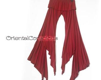 Irregular Bottom Line Gypsy Flare Pants Boho Hippie Hippy Bohemian Psy Festival Red
