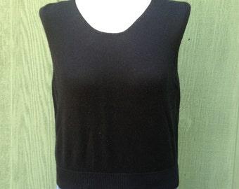 FIA italia black sleeveless knit shell Made in Italy, Handloomed, Size L, 1990s or 1980s