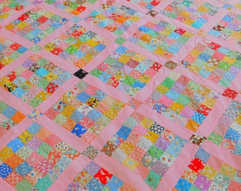 Vintage Quilt Top, Unfinished Postage Stamp Quilt Top, Handmade, American, Feedsack Fabric, Multicolor Southern, Child Twin Bed Cover Piece