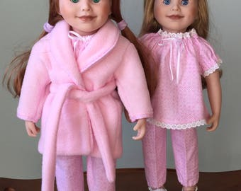 """Soft and lovely sleepwear for all 18"""" fashion dolls. Pink flannel pyjamas with coordinating fleece robe. Made of highest quality fabrics."""