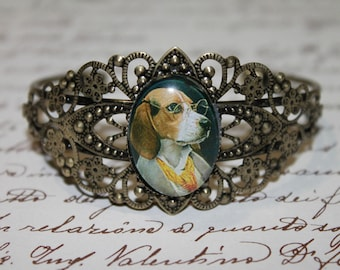 "Glass cabochon ""beagle aristo"" brass Cuff Bracelet"