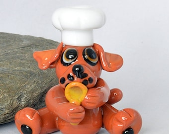 CHEF, Glass Dog Bead Chef,  lampwork glass bead, whimisical lampwork focal bead, Izzybeads SRA