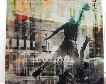 """Chicago 13"""" Canvas Wall Art - United Center Photo Collage"""