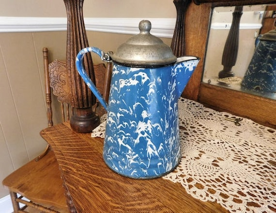 1800s Graniteware Coffee Pot Boiler / Antique Enamelware