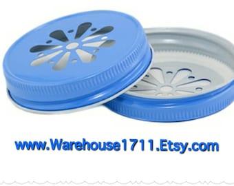 Mason Jar Lids ~ 11 ~ Daisy Lids ~ (Light Blue)/Party Jar Lids/Wedding Jar Lids/Anniversary Jar Lids