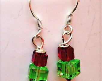 Holiday Gift Earrings, Christmas Gift Earrings, Christmas Earrings, Christmas Present Earrings, Gift for Women, Swarovski Crystal Earrings