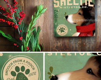 Sheltie shetland sheepdog Dog Mistletoe Company artwork on gallery wrapped canvas by Stephen Fowler