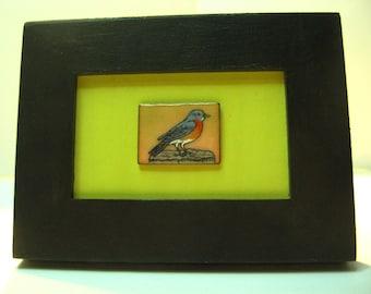Mini frame Bluebird, Bluebird of the East, Eastern bluebird, blue bird, Blue Bird, copper enamel