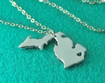 925 Sterling Silver Michigan Necklace I heart Michigan Necklace, Custom State Map Necklace , Personalized State Pendant Gift for Girlfriend