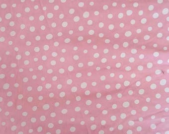 Fabric by the metre in 150 cm cotton pink white polka dots