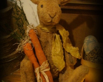 Primitive Bunny with Bundle of Carrots