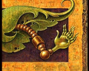 Monster art print, Goodly Nonodactyl: Strange creature's leafy brass arm, Weird wall art, Botanical oddity curiosity, Steampunk robot