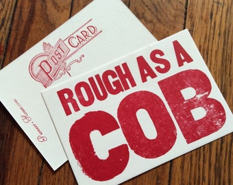 SOUTHERN CARDS 6 Rough as a Cob postcards Funny cards Art for farmers Cornfield humor Southern saying Midwest humor Letterpress Outhouse
