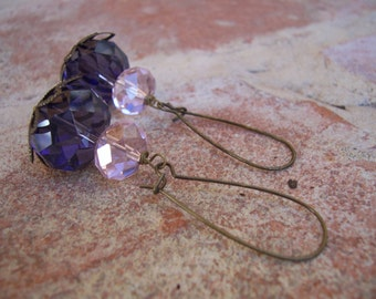 Violet and pink crystal rondelle dangle earrings