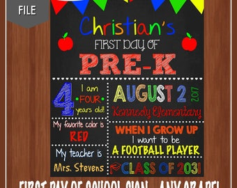 First Day of School Sign - First Day of Pre-K - Any Grade - Boy's First Day of School Sign - First Day of School Chalkboard - School