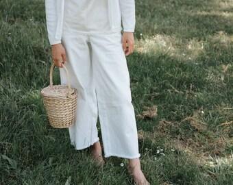 Vintage Ribbed White Cardigan XS S