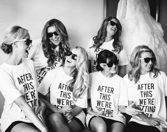 RESERVED: 8 Crewnecks T-shirts After This We're Getting Pizza - Bridal Party Getting Ready Outfit - Bride robe Bridesmaid