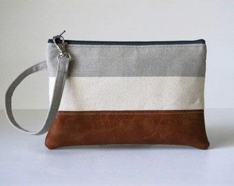 Grey  Wristlet Wallet, iPhone wallet, Vegan Leather Clutch Purse, Cellphone Wristlet, Boho Zipper Pouch, Boho Clutch,Gift For Her
