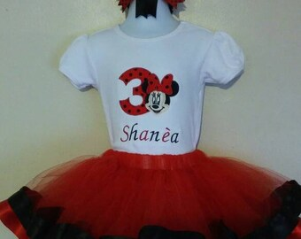Minnie Face Ribbon Birthday Outfit