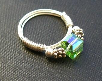 Pretty in Peridot Ring - Swarovski crystal, Bali silver, and sterling silver