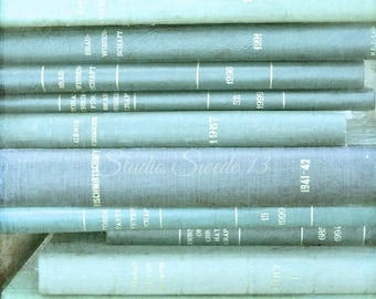 """Book Photography, Vintage Old Book Print, Aqua Wall Decor, Shabby Cottage Chic Art, Rustic Book Decor, Library Office Art- """"Aqua Library"""""""