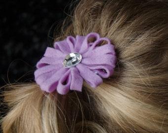 Hair Bow - Lilac Felt Daisy Style Flower Clip with Rhinestone Center