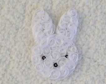 """3"""" Shabby Chiffon Flower Bunny, Shabby Bunny, Easter Headband, Baby Girl Headband, White, 1, 2 or 5"""