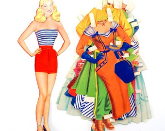"Vintage Paper Doll ""Mary"" Blonde Woman with Clothing, 34 pieces (c.1940s) - Doll Ephemera, Collectible Doll, Paper Projects"