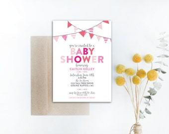 INSTANT DOWNLOAD baby shower invitation / baby girl shower / ombre pink invitation / pink baby shower invite / girly shower invite