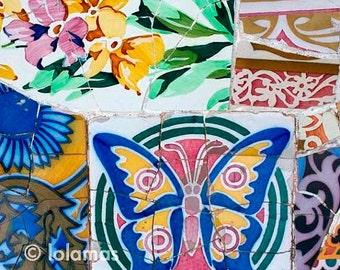 Butterfly prints, Gaudi, Wall Decor, Wall prints, mosaic tiles, wall art print, kids room decor